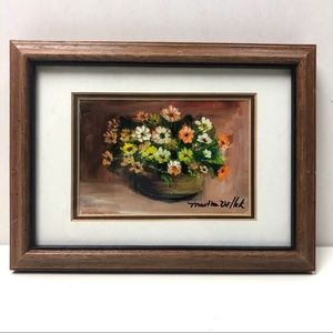 Vintage orange flowers in pot painting signed art